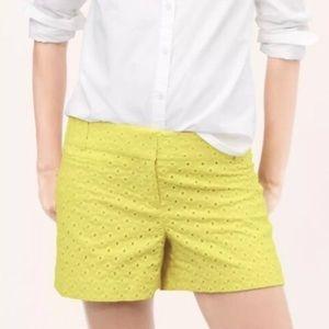 Yellow eyelet LOFT shorts size 00
